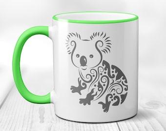 Fancy Koala Bear Coffee Mug, Koala Coffee Cup, Sublimated 11 oz, Colored Handle & Rim, 4 Colors