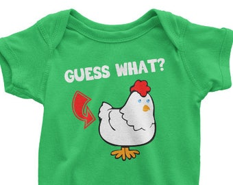 Guess What Chicken Butt One Piece, Printed On American Apparel T Shirt, Chicken Tshirt Funny Animal Tee, Farm, Farmer, Mens Womens Kids Baby