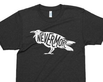 867c3cec Edgar Allan Poe Tshirt, The Raven T Shirt, Printed On American Apparel,  Tri-Blend, Nevermore, Horror Tee, Poem, Poetry, Mens Womens