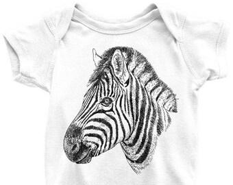 345155ab3 Zebra One Piece or T Shirt, Printed On American Apparel, Zebra Tshirt,  African Safari Animal Tee, Zoo, Mens Womens Kids Baby