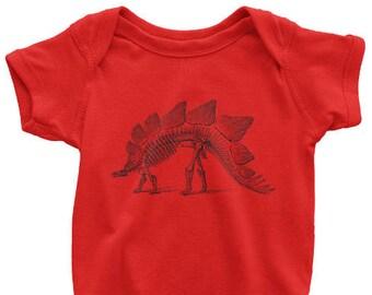 Stegosaurus One Piece, Printed On American Apparel, Dinosaur Tshirt, Fossil T Shirt, Animal Skeleton Tee, Mens Womens Kids Baby
