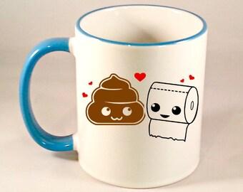 Funny Coffee Mug, Kawaii Poop Toilet Paper Coffee Cup, Cute Poop Coffee Mug, Kawaii Mug, Sublimated 11 oz, Colored Handle & Rim, 4 Colors