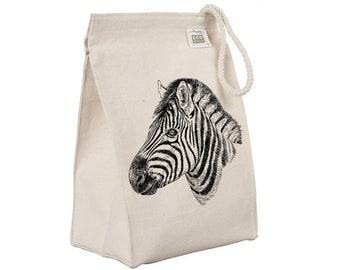 Zebra Stripe Stripes Safari Print Canvas Lunch Bag a5906
