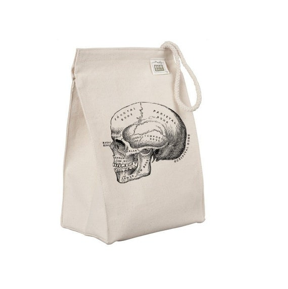 Reusable Lunch Sack, Anatomical Skull Lunch Bag, Organic Cotton Canvas Lunch Tote Bag, Box, Anatomy Medical Horror, Rope Handle Eco Friendly