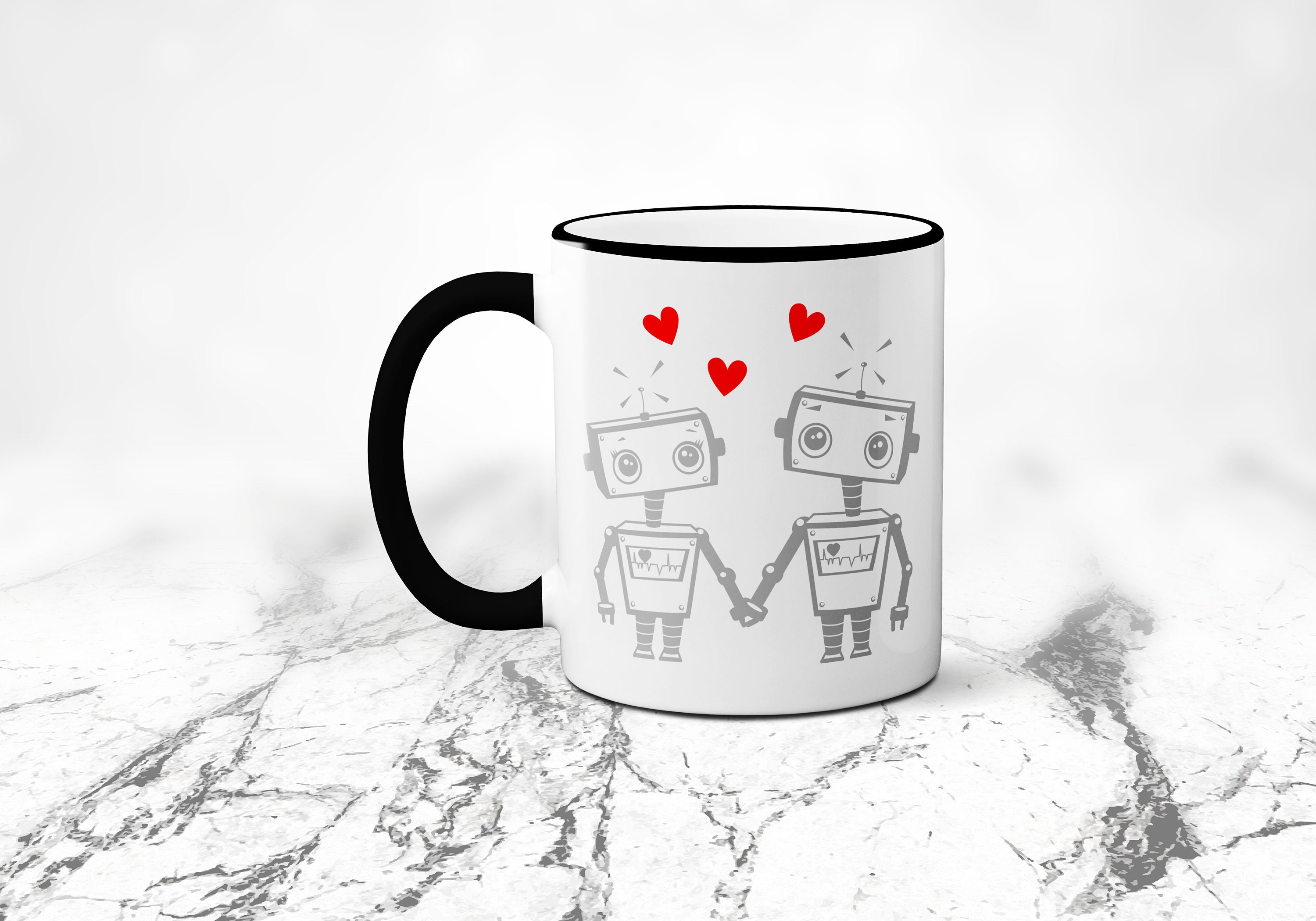 Rim CupFunny 11 In Colors DaySublimated Handleamp; MugLoveGeek Valentines 4 OzColored Robot Coffee Geeky lK1FJc