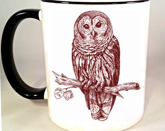 Owl Coffee Mug, Owl Coffee Cup, Ceramic Owl Mug, Owl Illustration, Gift, Sublimated 11 oz, Two Tone Colored Handle & Rim, 4 Colors