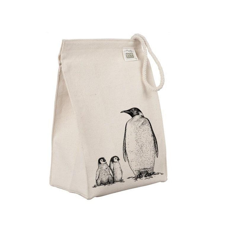 Reusable Lunch Sack Penguin Lunch Bag Arctic Animal Penguin image 0