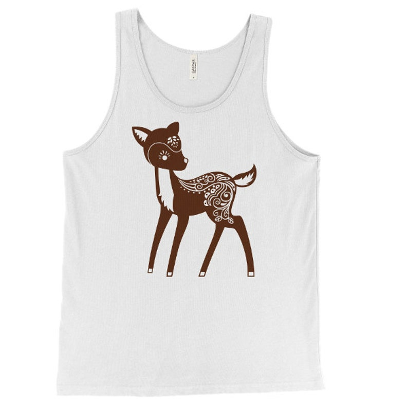 Forest Animal Tank Doe Fawn Woodland Critter Printed On Bella Canvas Unisex Whimsical Deer Tank Top Mens