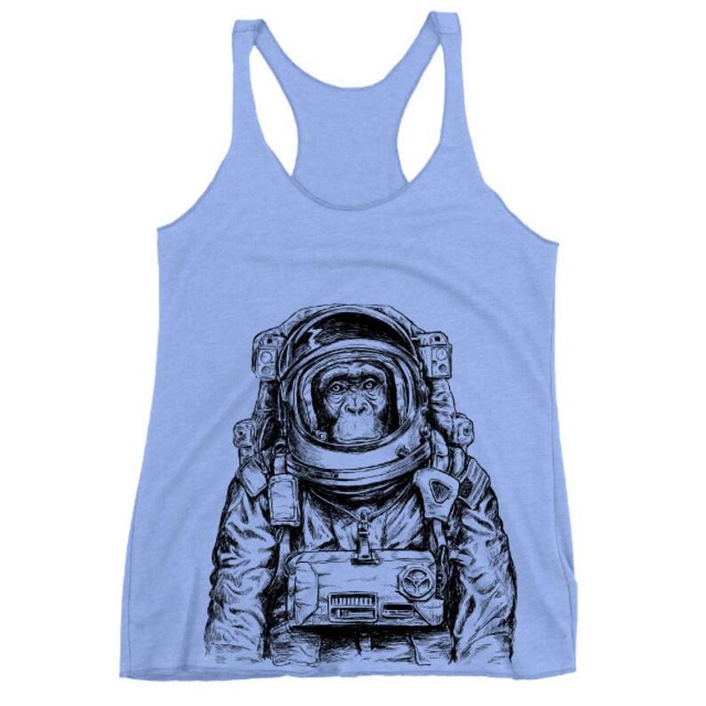 ed84d124f3125f Monkey Astronaut Tank Top Women s Triblend Racerback