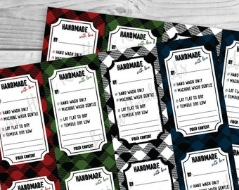 Handmade Buffalo Plaid Holiday Care Tags DOWNLOAD - Knit or Crochet Care Instructions Tag For Handmade Clothing  in Vector PDF and PNG Files