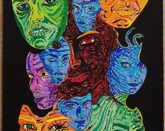 Face of darkness original hand drawn illustration