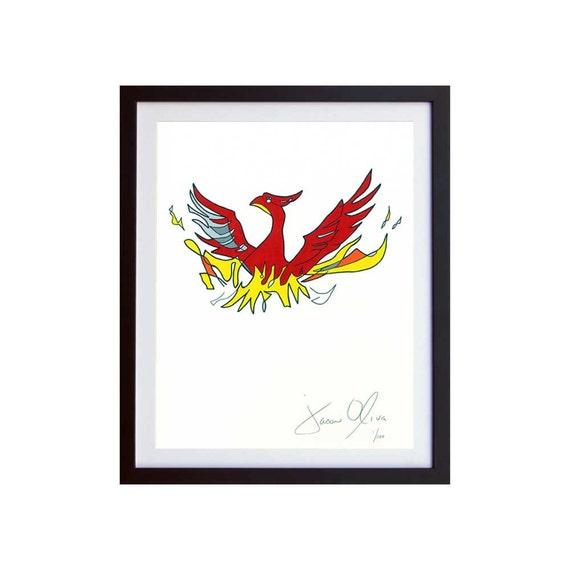 Phoenix Bird Painting Mythology Legend Mythical Fenix Art Etsy