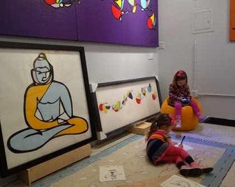 Buddha Painting, yellow blue art work, large framed buddha painting, wedding gift art, Gautama Buddha, Siddhārtha Gautama, Shakyamuni Buddha