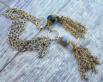 Evil Twin- Pietersite Vintage Chain Tassel Lariat Necklace
