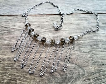 Spring Thaw- Delicate Vintage Crystal Bead Chain Swag Statement Necklace