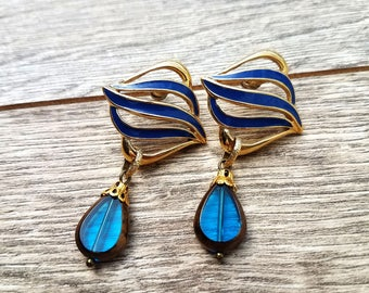 Undertow- Vintage Enamel Post Earrings with Blue Glass Teardrops