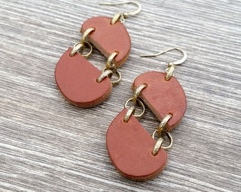 Simpler Times- Recycled Scrap Leather Earrings