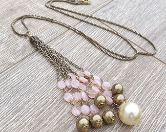Pink Champagne- Vintage Element Beaded Chain Tassel Pendant Necklace