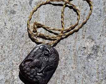 Catch a Tiger- Carved Chinese Old Jade Tiger Pendant on Vintage Chain Necklace