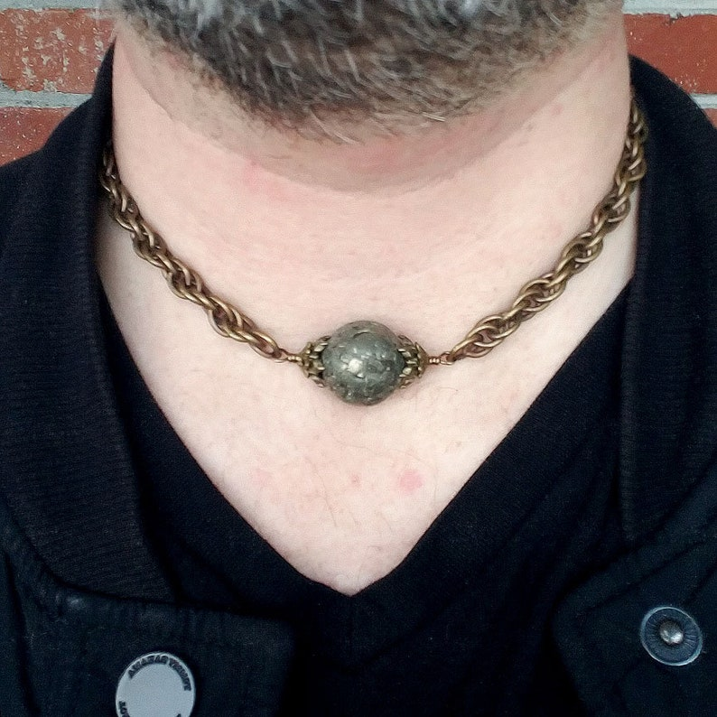 Men/'s Heavy Vintage Element Antique Brass Rope Chain Pyrite Bead Necklace Gothic Legacy
