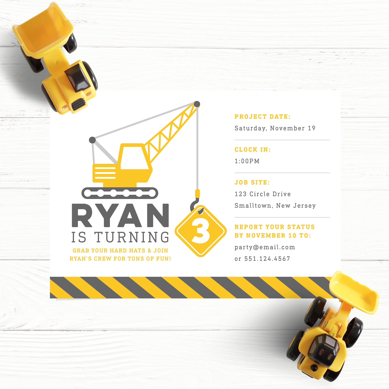 Construction Birthday Invitation Yellow Gray Truck | Etsy