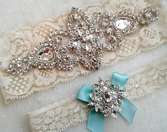 Aqua Wedding Garter, Bridal Garter Set, Something Blue Garter, Aqua Garter, Crystal Rhinestone Keepsake Toss Garters, 35 Bow / 9 Lace Colors