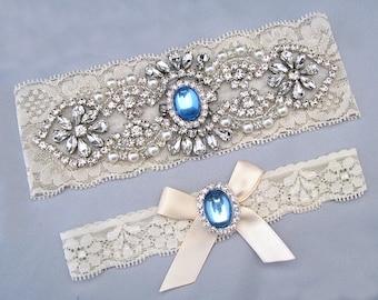 Wedding Garter Set, Crystal Rhinestone Pearl Keepsake / Toss Garters, Something Blue, Off White / Ivory Stretch Lace Bridal Garter