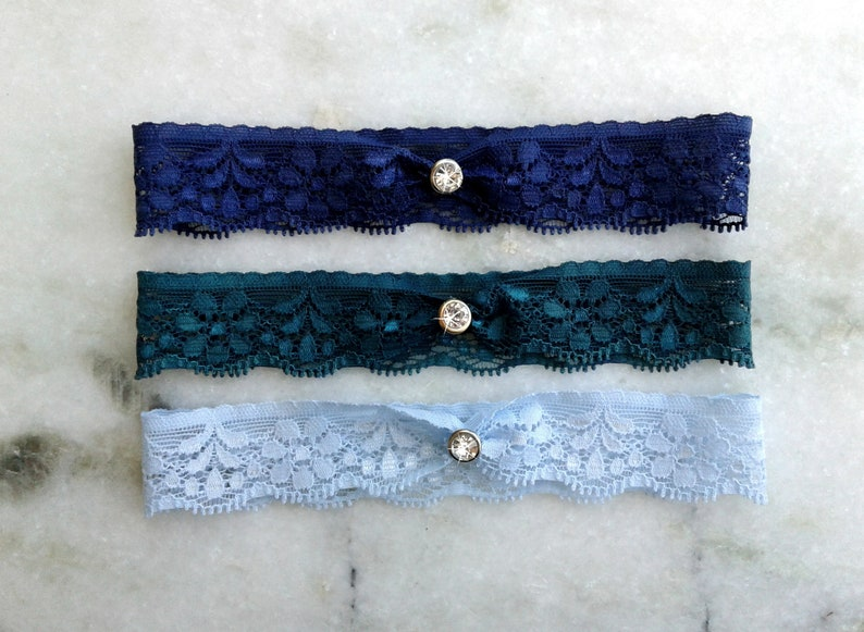 Dusty Blue Wedding Garter Silver  Rose Gold  Gold  Black Garter Light Blue Stretch Lace Garter Something Blue Gray Bridal Garters