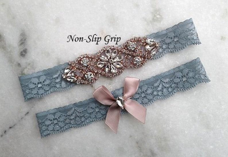 d81a591fcf7 Dusty Blue Wedding Garter Set Rose Gold Stretch Lace Bridal