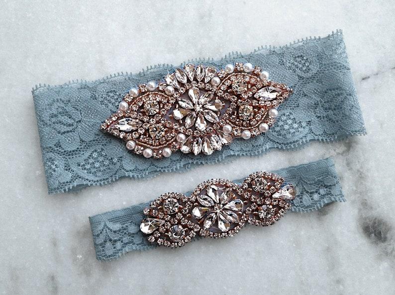 b2e6853d863 Dusty Blue Wedding Garter Rose Gold Bridal Garters Stretch