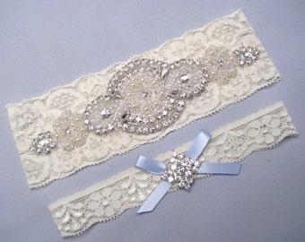 Something Blue Wedding Garter, Ivory / White Lace Garter, Pearl Crystal Rhinestone Garter, Keepsake / Toss Bridal Garter Set, Custom Garter