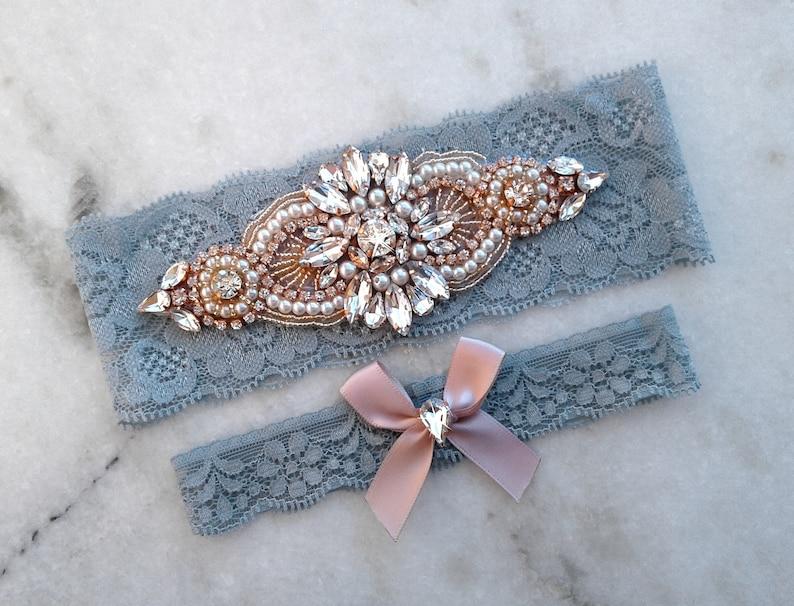 ab7758cdaba Rose Gold Dusty Blue Wedding Garter Bridal Garters Stretch