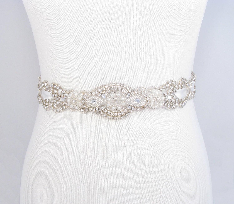 Wedding Gown Belts And Sashes: Crystal Rhinestone Pearl Bridal Belt Satin Ribbon Wedding