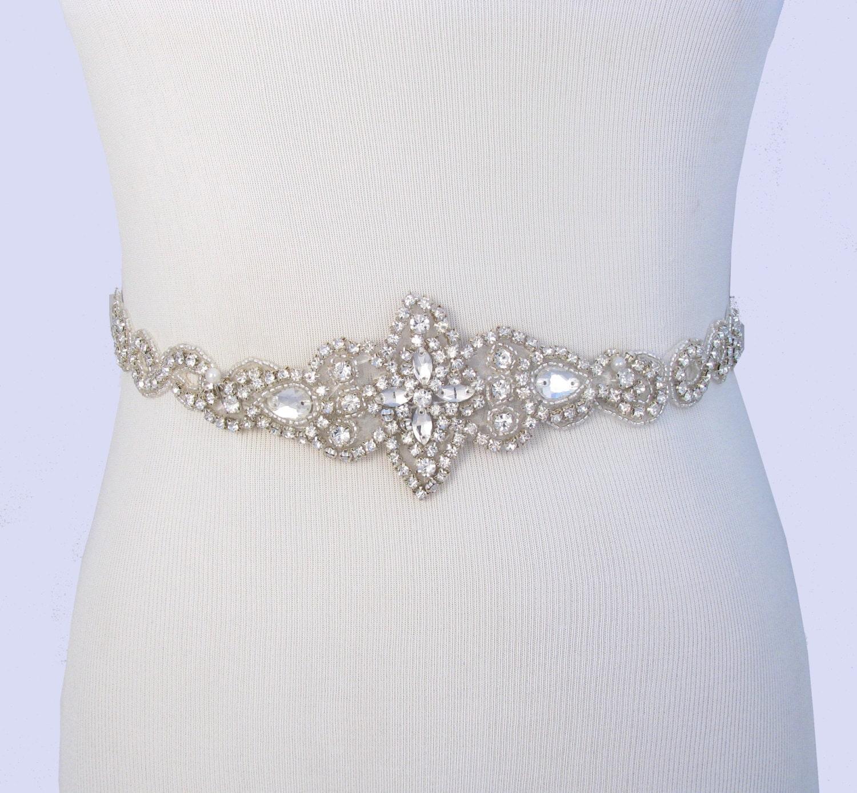 Bridal Belt Crystal Rhinestone Wedding Dress Sash Jeweled Etsy