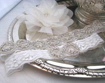 Wedding Garter, Bridal Garter Set, Infinity Symbol Crystal Rhinestone Garters, Off White or Ivory Lace Wedding Keepsake and Toss Garter