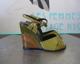 1960s Kimel of California Sandals | 50s 60s Old Hollywood wedge sandals