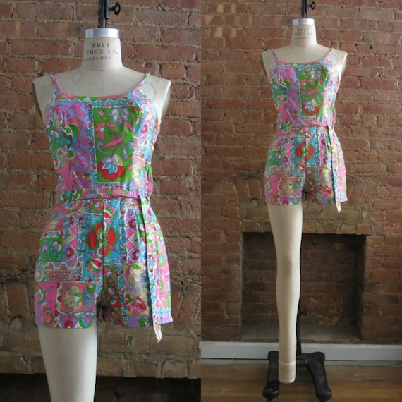 1960s Rose Marie Reid floral playsuit | 60's Retro