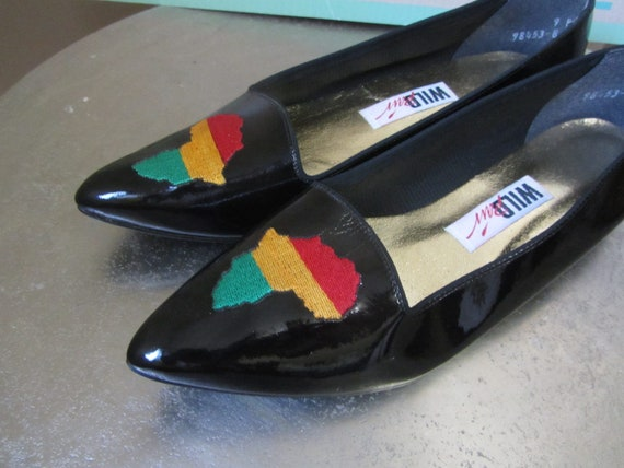 1980s black patent leather flats (deadstock) | 80s