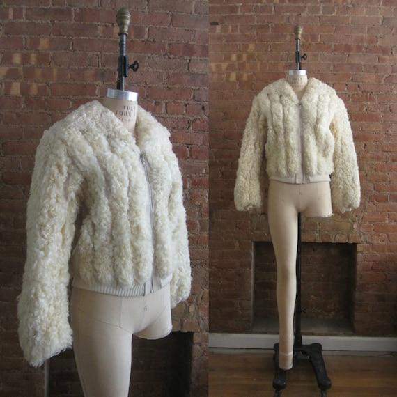 1970s curly lamb & leather bomber jacket