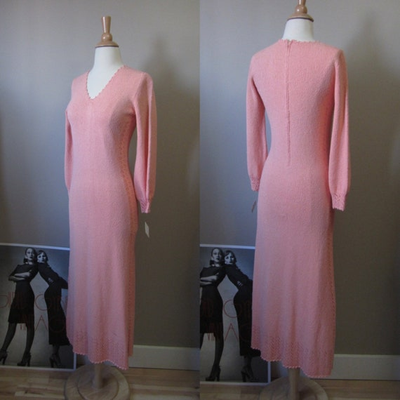 1970s pink pointelle knit maxi dress
