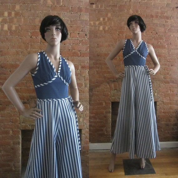 1970s nautical stripe palazzo jumpsuit