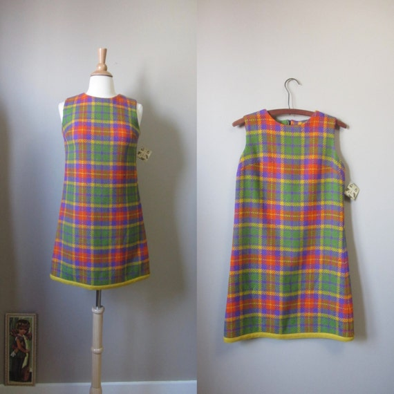 1960s Joseph Magnin plaid mini dress | 60's Retro