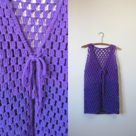 1970s purple crochet vest | 70's retro groovy | S