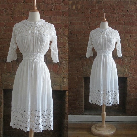 1910s antique edwardian cotton lawn eyelet tea dre