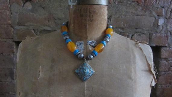 vintage bohemian pendant necklace