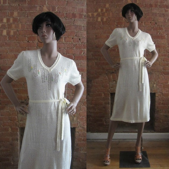1970s cream boucle knit dress | 70's does 30's 40'