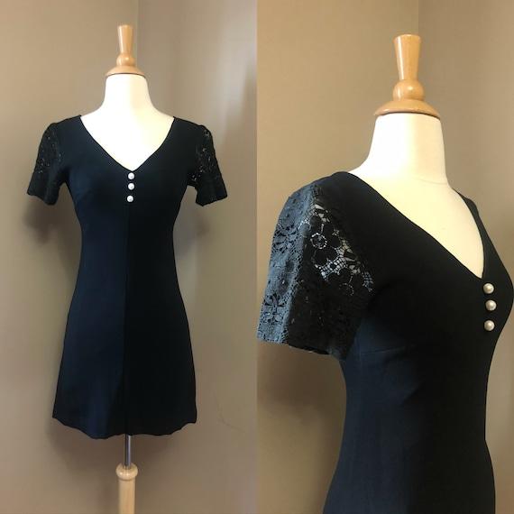 1960s Radley of London black mini dress   60's Boh