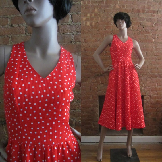 1980s Lanz red polka dot dress | 80's does 50's Bo