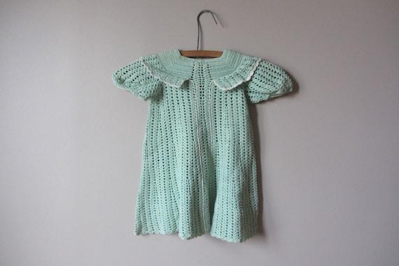 1930s little girls mint green crochet dress • size
