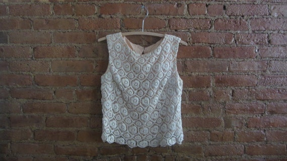 1960s ivory cream crochet lace blouse